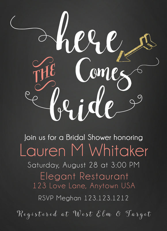 Bridal Shower Invitations Here comes the Bride - Invitetique