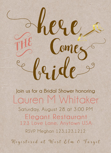 Here comes the bridal Shower Invitations Kraft Coral