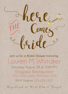 Here Comes the Bridal Shower Invitations Kraft Coral - Invitetique