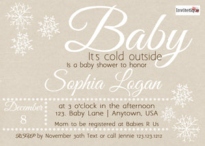 Winter Baby is cold outside Shower Invitations - Invitetique