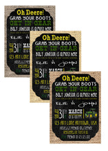 John Deere Green Tractor Baby Shower Invitations
