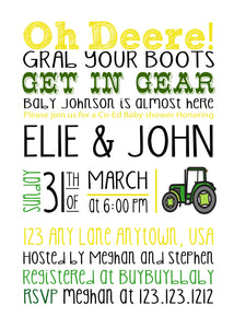 John Deere Baby Shower invitations - JD01 - Invitetique