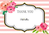 Black Stripe Gold Glitter Floral Kate Spade Inspired Thank You Notes - Invitetique