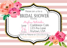 Pink White Stripe Gold Glitter Floral Kate Bridal Shower Invitations