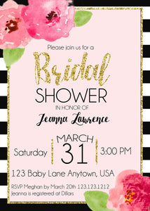 Floral Black & White Stripe Bridal Shower Invite - Invitetique