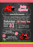 Ladybugs Chalk Baby Shower Invitations - Invitetique