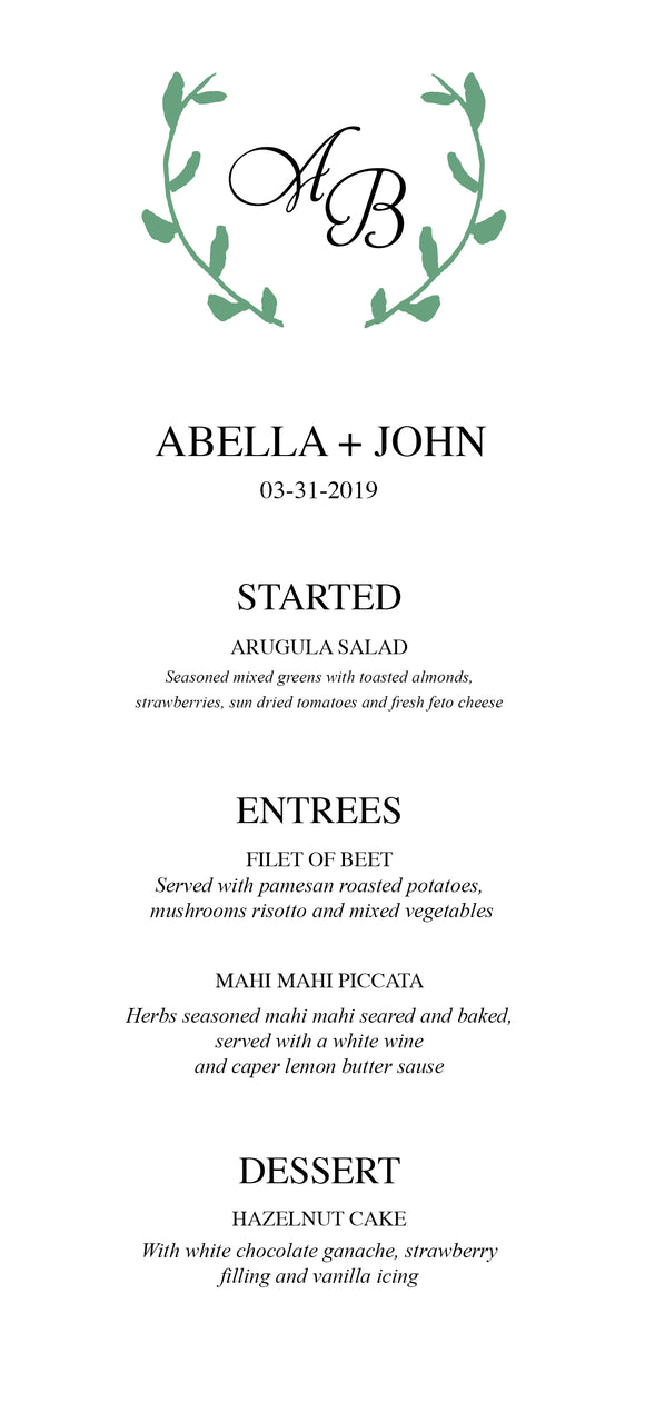 Laurel Wedding Menu - Botanical 3108