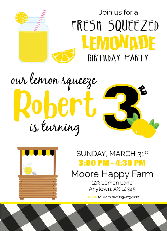 Lemon digital birthday invitation