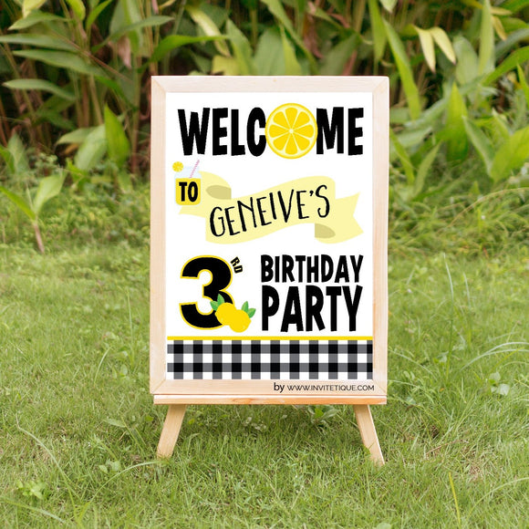 Lemon birthday welcome sign