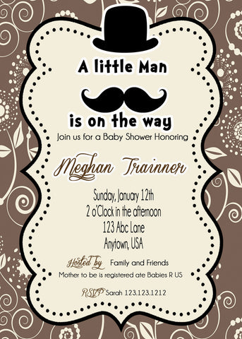 Little Man baby Shower Digital Invitations - Invitetique