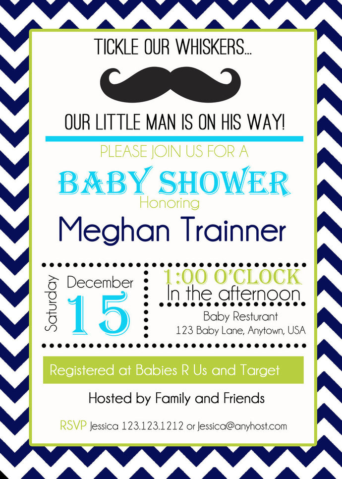 Little Man Chevron baby Shower Invites