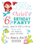 Little mermaid personalized  invitation