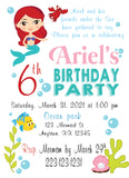 the little mermaid flounder birthday personalized digital invitation