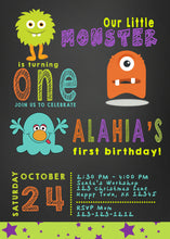 Little Monster Birthday Invitations chalkboard background