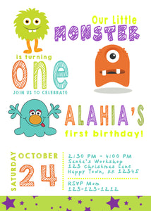 Little Monster Birthday Invitations for any age - We print - Invitetique