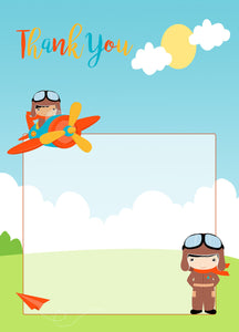 Little Pilot Fill in Thank You card - Invitetique