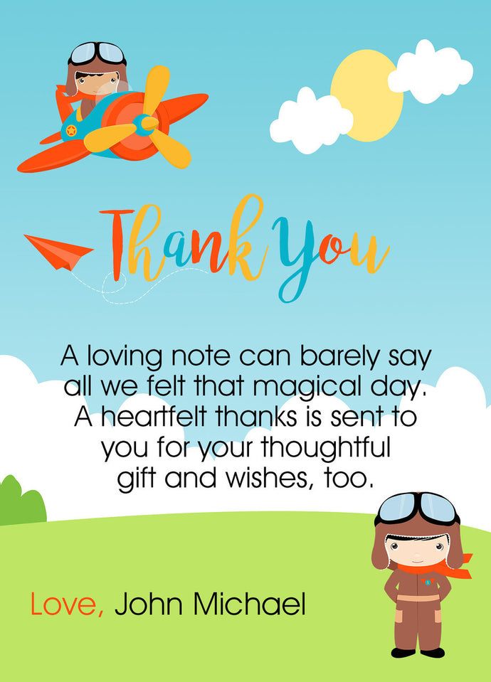 Little Pilot Thank You card