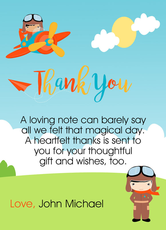 Little Pilot Thank You card - Invitetique