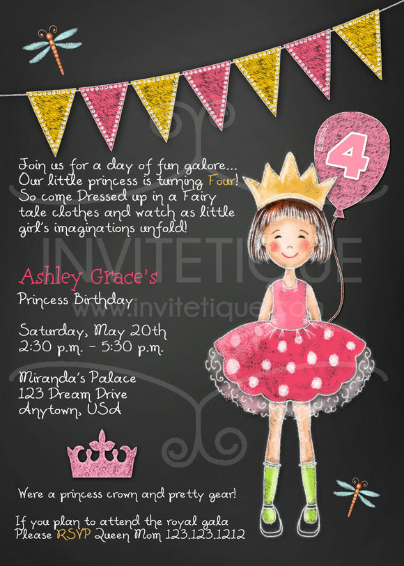 Little Pink Princess Invitations - Invitetique