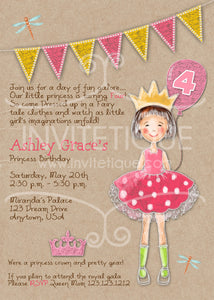 Little Pink Princess Kraft Invitations - Invitetique