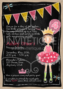 Pink Princess Invites - Invitetique