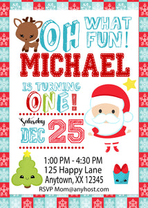 Little Santa First Birthday Invitation
