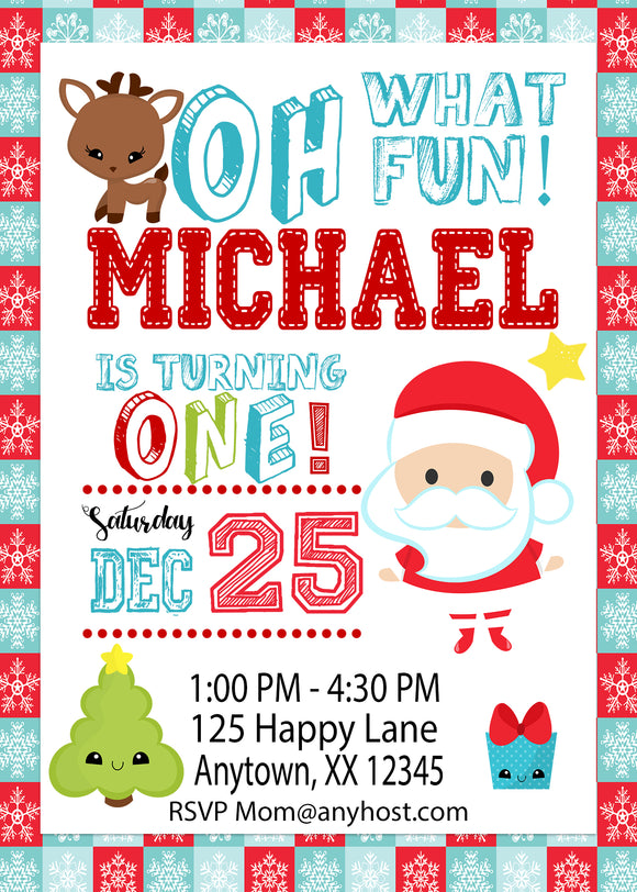Little Santa First Birthday Invitations - Invitetique