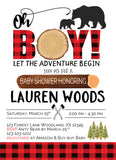 wildness bear cup baby shower lumberjack invitation