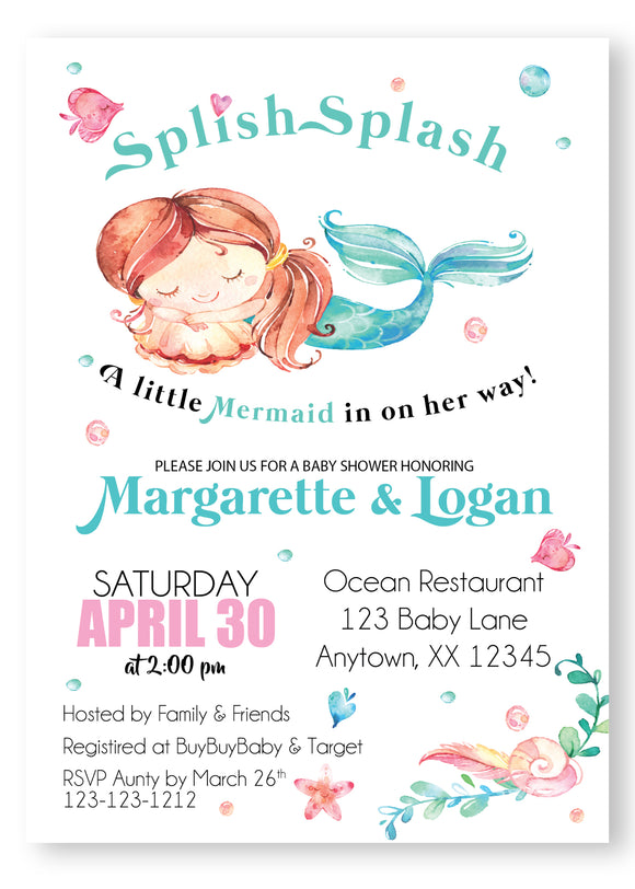 Let's be Mermaids girl Baby Shower Invitations - Invitetique