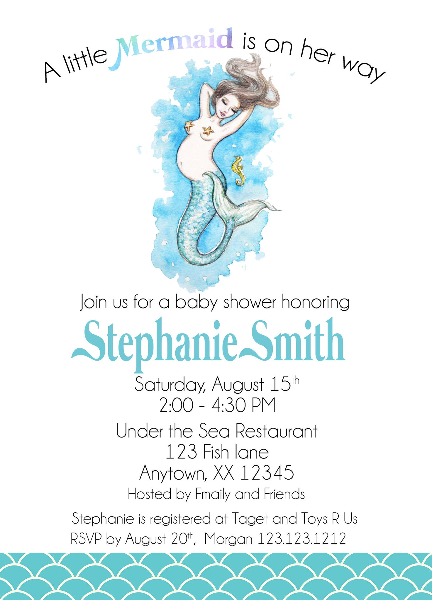 Mermaid Baby Shower Invitation – Invitetique