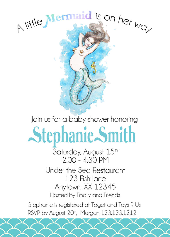 Mermaid Baby Shower Invitation Under The Sea Invitation