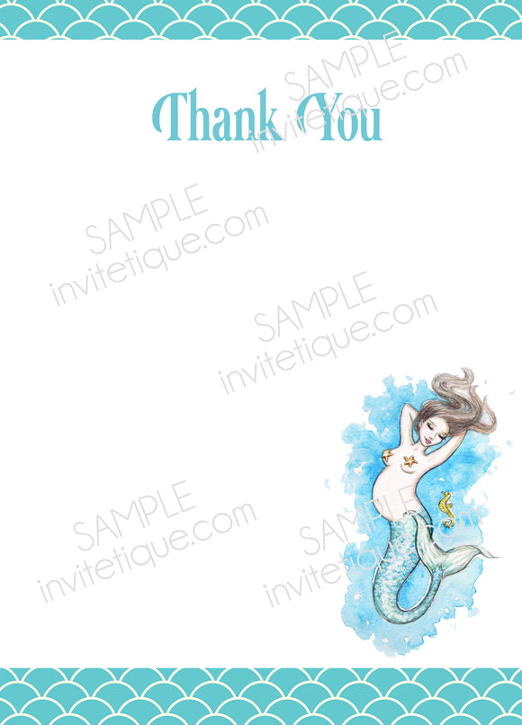 Mermaid Baby Shower Fill in the blank Thank you note