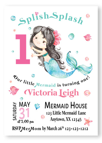 Let's be Mermaids girl Birthday  Invitations - DIGITAL - Invitetique