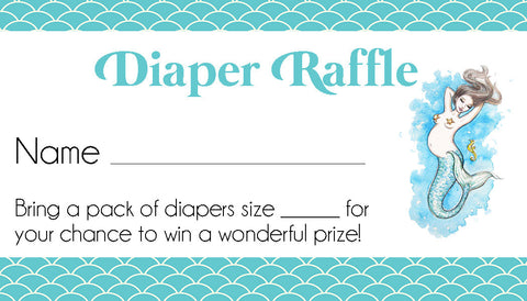 Mermaid Diaper Raffle Tickets - Invitetique