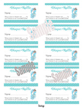 Mermaid Baby Shower Diaper Raffle Ticket