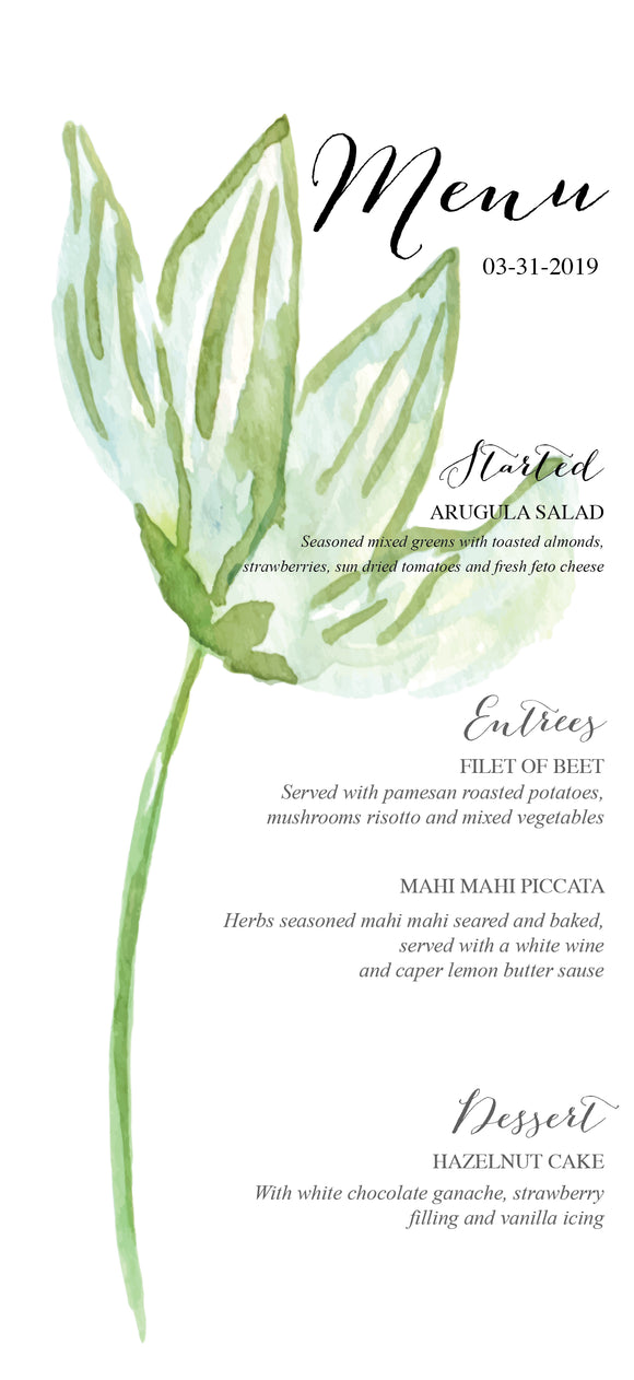 Minimal Botanical Wedding Menu
