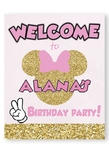 pink and gold minnie welcome sign, signage, personalized banner
