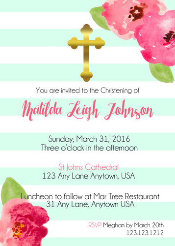 Mint & gold striped baptism invitations