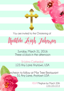 Mint & Gold Striped Baptism Invitations - Invitetique