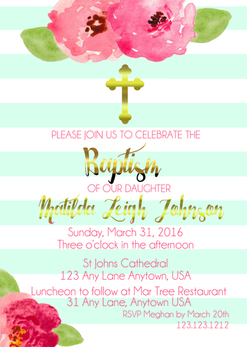 Mint striped baptism invitations