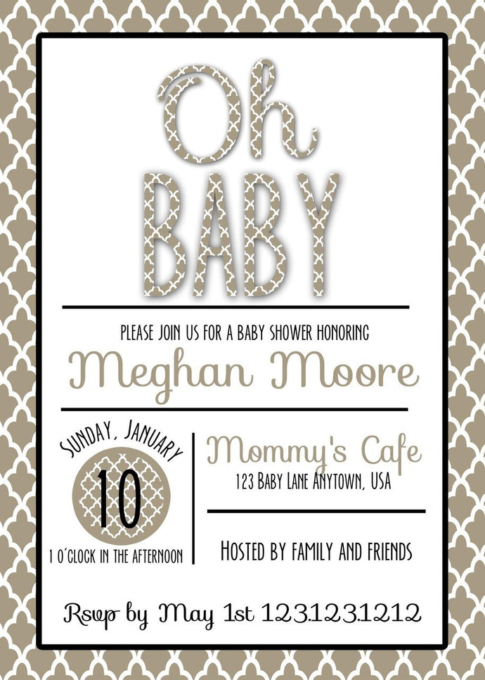 Ohh Baby Modern Baby Shower Invites