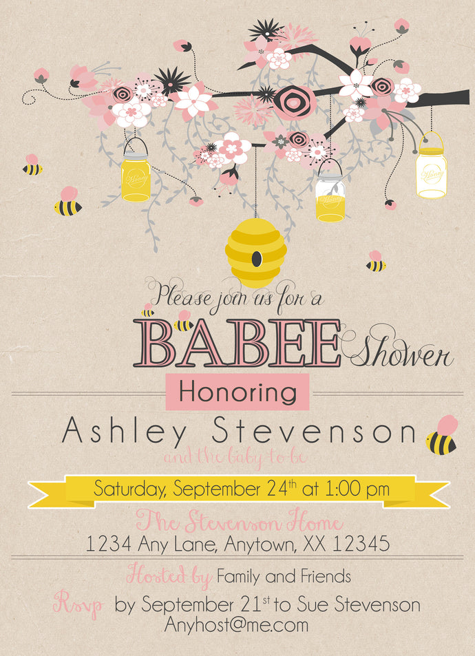 Pink Bumble Bee Baby Shower Invitations