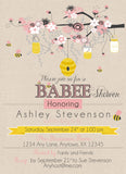 Bumble Bee Mom to Be Pink Flowers baby Shower Invitations - Invitetique