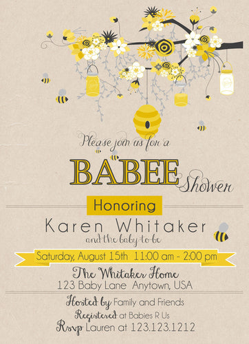 Mom to Bee baby Shower Invites