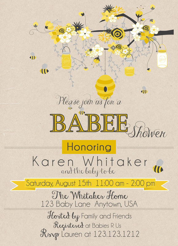 Mom to Bee baby Shower Invitations - Invitetique