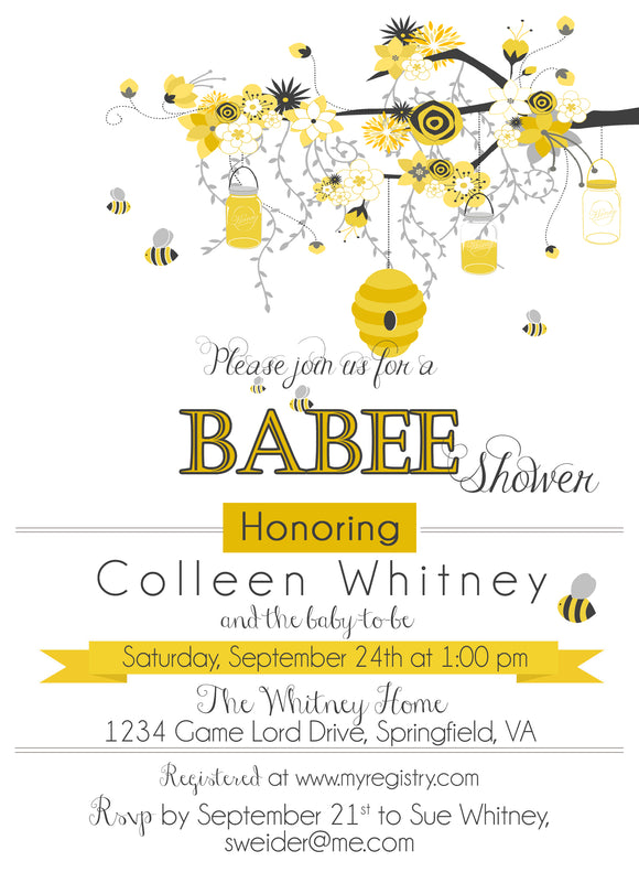 Bee and Honey Comb Baby Shower Invitation - 480 - Invitetique