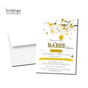 Bee and HoneyComb Baby Shower Invitation - 480 - Invitetique