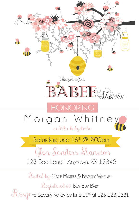 Bee and Honey Comb Pink Baby Shower Invitation - 490 - Invitetique
