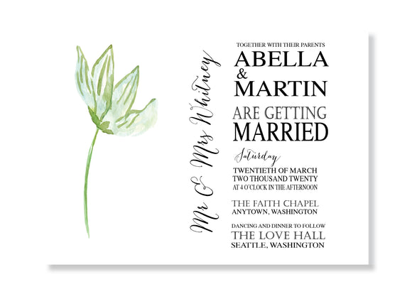 Natalie Botanical Wedding Invitations - B567 - Invitetique