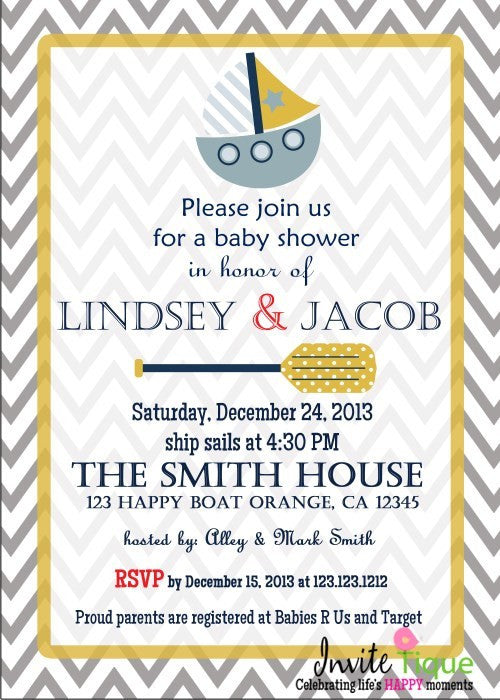 Nautical Baby Shower Invites - Invitetique